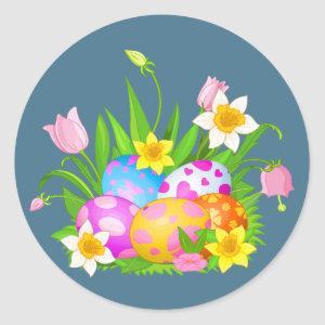Happy Easter Eggs and Floral Classic Round Sticker