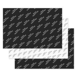 """""""Happy Father's Day""""  Black & White Background Wrapping Paper Sheets"""
