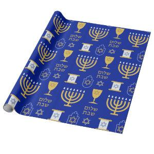 Happy Hanukkah Jewish Holiday Wrapping Paper