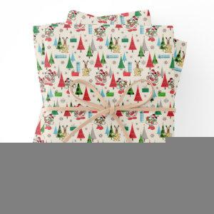 Happy Holidays | Cute Mickey Plaid Pattern Wrapping Paper Sheets