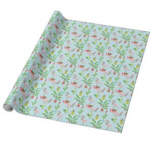 Happy Holidays | Flamingo & Pineapple Pattern Wrapping Paper