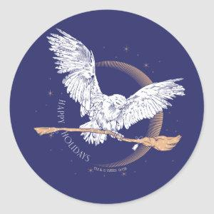 Happy Holidays Hedwig Delivery Classic Round Sticker