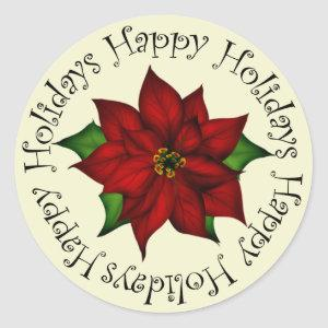 Happy Holidays Poinsettia Classic Round Sticker