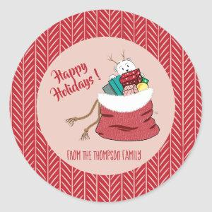 Happy Holidays Red Personalized Stickers