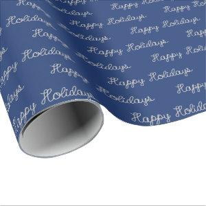 Happy Holidays rope text on blue Wrapping Paper