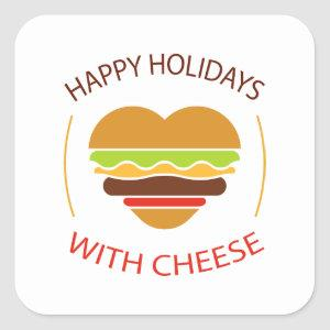 Happy Holidays With Cheeseburger Funny Christmas Square Sticker