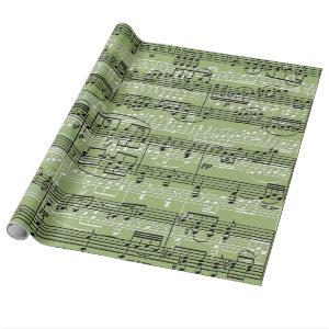 happy holidays with music wrapping paper