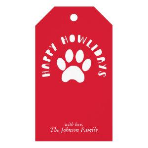 Happy Howlidays Pet Paw Print Personalize Holiday Gift Tags