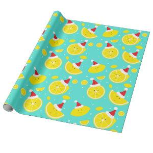 Happy Lemons Santa Hats Pattern Wrapping Paper
