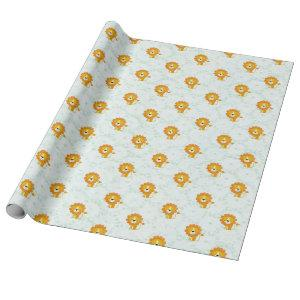 Happy Lion Pattern Cute Modern Wrapping Paper