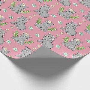 Happy Little Hippos and Flowers Wrapping Paper