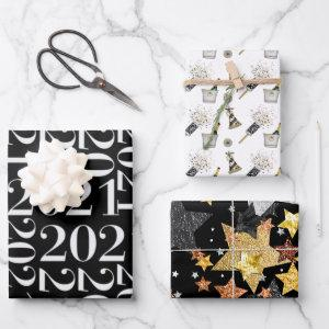 Happy New Year 2021 Black White Gold Confetti Wrapping Paper Sheets