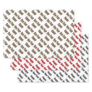Happy New Year Red Black Yellow Text Wrapping Paper Sheets