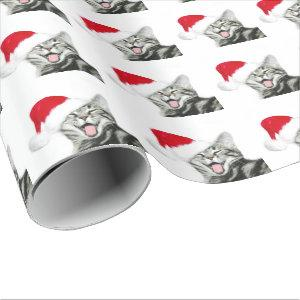 Happy Santa tabby kitten Wrapping Paper
