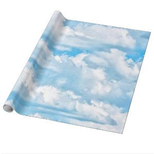 Happy Sunny Clouds Background Scenery Wrapping Paper