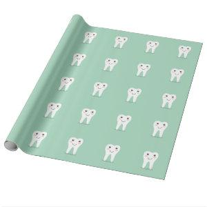 Happy Tooth cartoon dentist brushing toothbrush Wrapping Paper