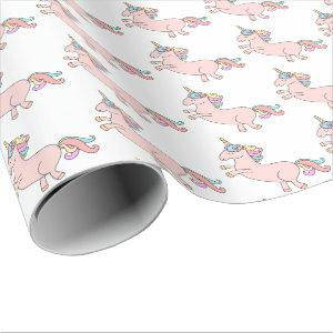 Happy Unicorn Horn Pink Candy Stars Baby Shower Wrapping Paper