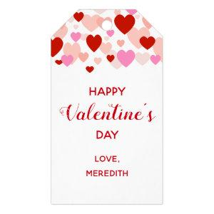 Happy Valentine's Day Gift Tag, Red & Pink Hearts Gift Tags