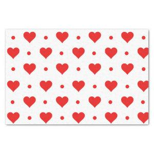 Happy Valentine's Day Simple Red Hearts Pattern Tissue Paper