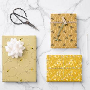 Hard Working Honey Bee Set of 3 Wrapping Paper Sheets
