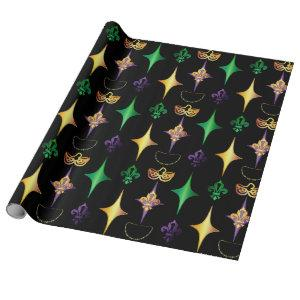 Harlequins Beads Mask Fleur de Lis Mardi Gras Wrapping Paper