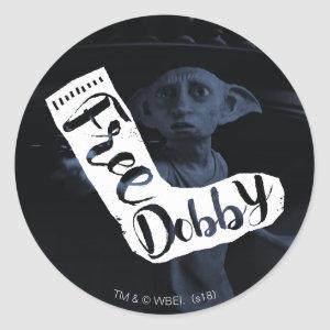 "Harry Potter | ""Free Dobby"" Sock Typography Classic Round Sticker"