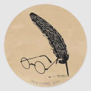 Harry Potter | Glasses And Quill Classic Round Sticker