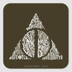 Harry Potter Spell | DEATHLY HALLOWS Typography Gr Square Sticker