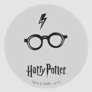 Harry Potter Spell | Lightning Scar and Glasses Classic Round Sticker