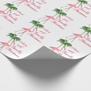Have A Beachy Christmas Flamingo Wrapping Paper