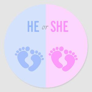 He or She Gender Reveal Baby Shower Stickers