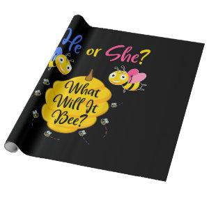He Or She What Will It Bee Gender Reveal Baby Show Wrapping Paper