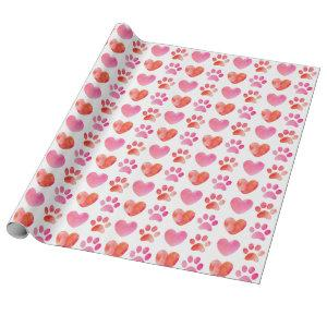 Heart and Paw Print Valentine's Day Wrapping Paper