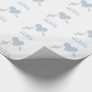 Heart Bites and Sharks Baby Shower Wrapping Paper