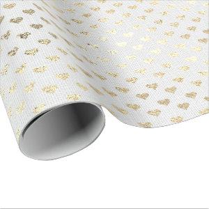 Heart Confetti Foxier Gold Foxier White Gray Linen Wrapping Paper