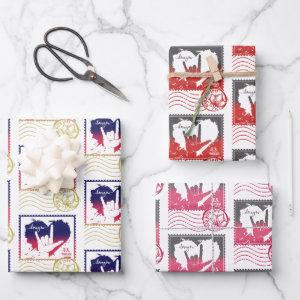 Heart ILY, Send With Love, and Post Office Stamp Wrapping Paper Sheets