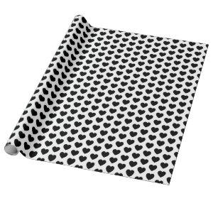 Hearts, Black on White Wrapping Paper