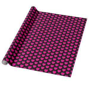 Hearts, Hot Pink on Black Wrapping Paper