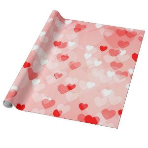 Hearts - Red Bokeh Hearts Wrapping Paper