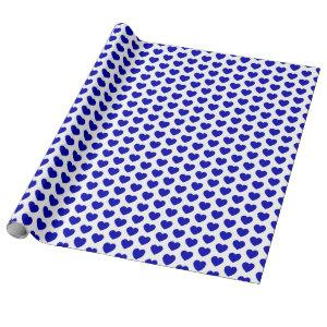 Hearts, Royal Blue on White Wrapping Paper