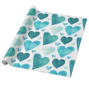 Hearts - Teal Watercolor Hearts Wrapping Paper