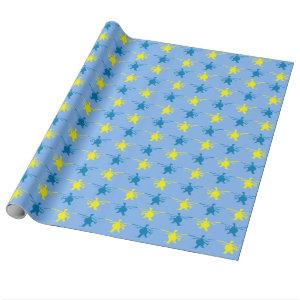 Helicopter Pattern Yellow Blue Print Wrapping Paper