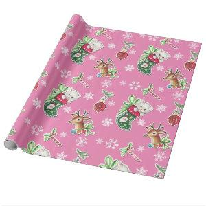 Hello Kitten Christmas Wrapping Paper in Pink