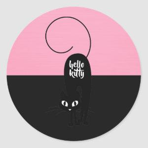 Hello Kitty, Two Tone Pink and Black Classic Round Sticker