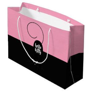 Hello Kitty, Two Tone Pink and Black Large Gift Bag
