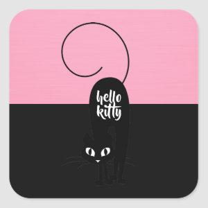 Hello Kitty, Two Tone Pink and Black Square Sticker