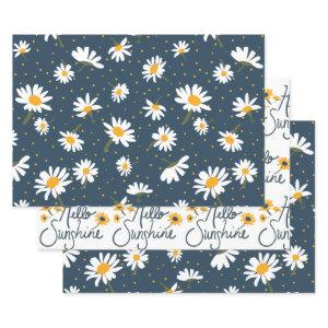 Hello Sunshine Classic Daisy Flowers Wrapping Paper Sheets