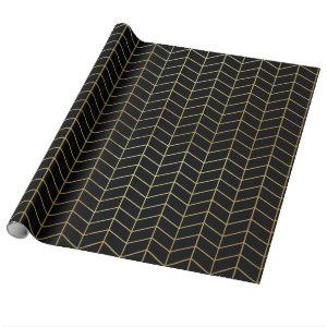 Herringbone Pattern Faux Gold Foil Black Geometric Wrapping Paper