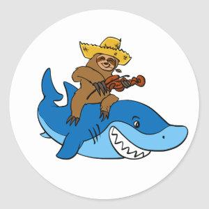 Hick sloth mounted on shark classic round sticker