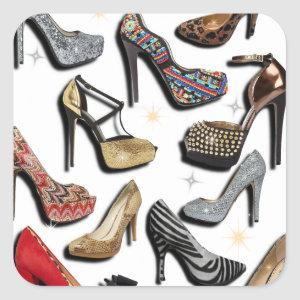 High Heel Shoe Collage Sparkle Fashion Pumps Square Sticker